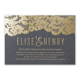 Lace Reflections - Black Shimmer - Foil Invitation