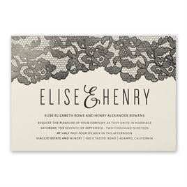 Lace Reflections - Ecru Shimmer - Foil Invitation
