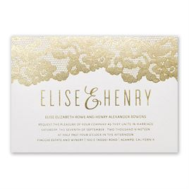 Lace Reflections - White Shimmer - Foil Invitation