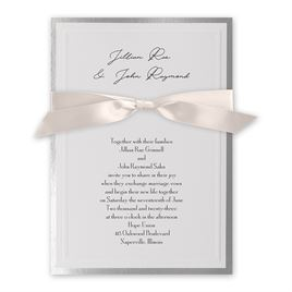Silver Sophisticated Border - Blush - Invitation