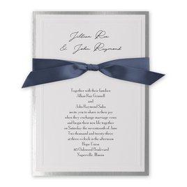 Silver Sophisticated Border - Steel Blue - Invitation