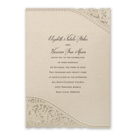 Wedding Invitations: Touch of Lace Laser Cut Invitation
