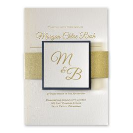Layers of Luxury - Navy - Gold Foil Invitation