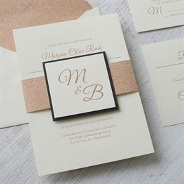Layers of Luxury - Black - Rose Gold Foil Invitation