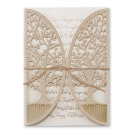 "Nature""s Gateway - Ecru Shimmer -  Foil and Laser Cut Invitation"