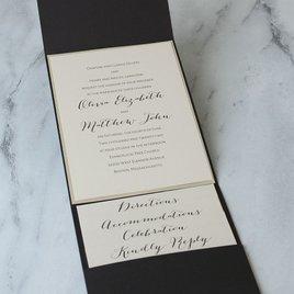 Luxe Elegance - Gold Shimmer - Black Pocket Invitation