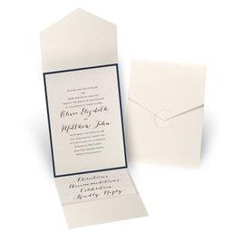Luxe Elegance - Navy - Ecru Shimmer Pocket Invitation