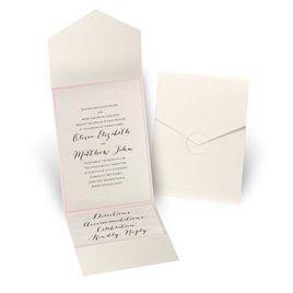 Luxe Elegance - Pink - Ecru Shimmer Pocket Invitation