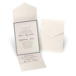 Luxe Elegance - Pewter - Ecru Shimmer Pocket Invitation