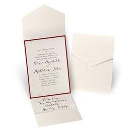 Luxe Elegance - Red - Ecru Shimmer Pocket Invitation
