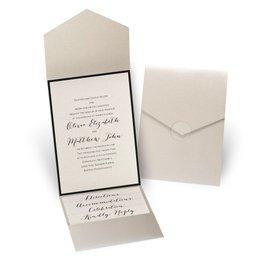 Luxe Elegance - Black - Gold Shimmer Pocket Invitation