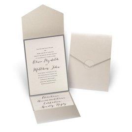 Luxe Elegance - Pewter - Gold Shimmer Pocket Invitation