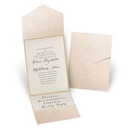 Glitter Elegance - Gold Glitter - Blush Pocket Invitation