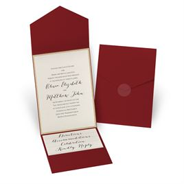 Glitter Elegance - Gold Glitter - Merlot Pocket Invitation