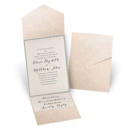 Glitter Elegance - Silver Glitter - Blush Pocket Invitation