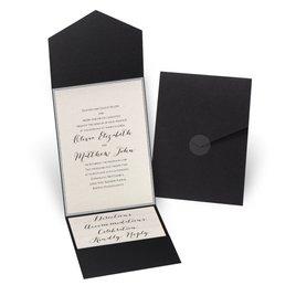 Glitter Elegance - Silver Glitter - Black Pocket Invitation