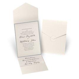 Glitter Elegance - Silver Glitter - Ecru Shimmer Pocket Invitation