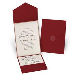 Glitter Elegance - Rose Gold Glitter - Merlot Pocket Invitation