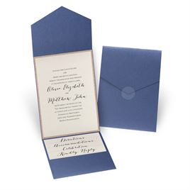 Glitter Elegance -Rose Gold Glitter - Sapphire Shimmer Pocket Invitati