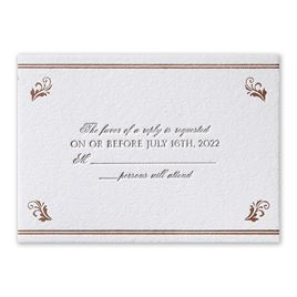 Regal Style - Rose Gold - Letterpress and Foil Response Card
