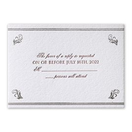 Regal Style - Silver - Letterpress and Foil Response Card