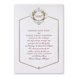 Wedding Invitations: Regal Style Letterpress and Foil Invitation