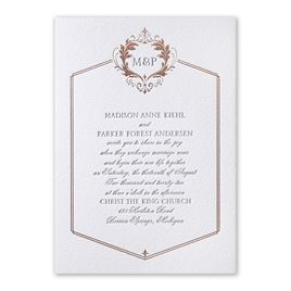 Regal Style - Rose Gold - Letterpress and Foil Invitation