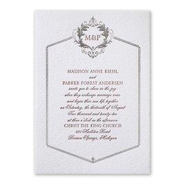 Regal Style - Silver - Letterpress and Foil Invitation