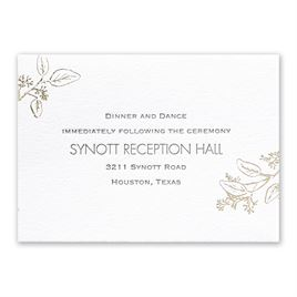 Wedding Reception and Information Cards: Verdure - Letterpress and Foil Reception Card