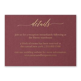 Burgundy Brilliance - Gold - Foil Reception Card