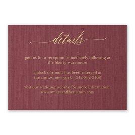 Wedding Reception and Information Cards: Burgundy Brilliance - Foil Reception Card