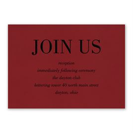 Wedding Reception and Information Cards: Red Romance Reception Card