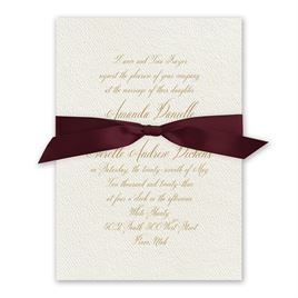 Wedded Bliss - Burgundy - Ecru Invitation