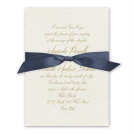 Wedded Bliss - Steel Blue - Ecru Invitation