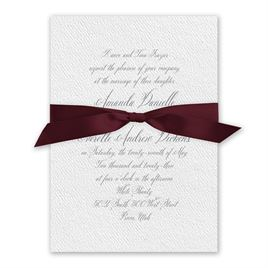 Wedded Bliss - Burgundy - White Invitation