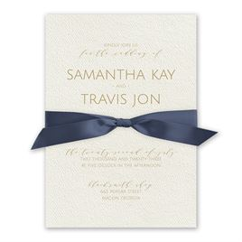 Modern Elegance - Steel Blue - Ecru  Invitation