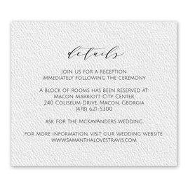 Wedding Reception and Information Cards: Modern Elegance White Information Card