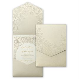 Wrapped in Beauty - Gold - Laser Cut Pocket Invitation