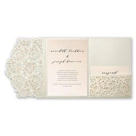 Refined - Blush Shimmer - Laser Cut Pocket Invitation