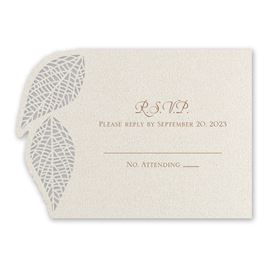 Wedding Response Cards: Luxe Leaves Laser Cut Response Card