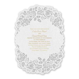 Blooming Beauty - Gold - Laser Cut Invitation