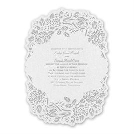 Blooming Beauty - Silver - Laser Cut Invitation