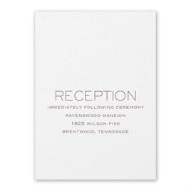 Wedding Reception and Information Cards: Modern Love White Reception Card