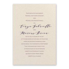 Wedding Invitations: Classic Couple Ecru Invitation