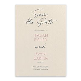 Pink: Sweet Statement Ecru Save the Date Card