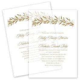 Wedding Invitations: Gilded Greenery Vellum Invitation