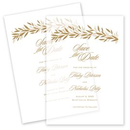 Gilded Greenery Vellum Save the Date Card