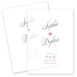 Non-Photo Save The Dates: In Love Vellum Save the Date Card
