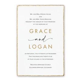 Wedding Invitations: Dazzling Deckle White Invitation