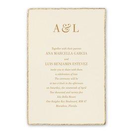 Wedding Invitations: Deckled Elegance Ecru Invitation